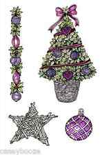 Clear Rubber Stamps - Christmas Tree, Star, Bauble & Garland - 1056 - New Out