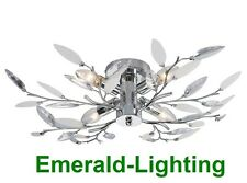 WILLOW 4 ARM SEMI FLUSH CEILING LIGHT FITTING POLISHED CHROME FROSTED LEAVES