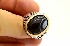 BLACK WHITE AGATE 925 STERLING SILVER BRONZE RING SZ 10.5 US TURKISH JEWELRY HQ