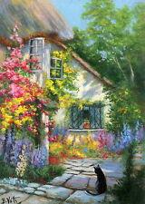 Black cat English cottage garden flowers landscape OE aceo print art