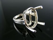 3876  RING SETTING STERLING SILVER, SIZE 5.5, 24X18 MM OVAL STONE