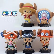"5pcs One Piece Cosplay Chopper Cos Luffy Ace Sabo Buggy 8cm/3.2"" PVC Figure"