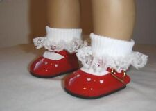 RED PATENT SHOES & SOCKS  FIT AMERICAN GIRL DOLL SHOES