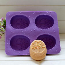 4 Cavity Tree of Life One Leaf Soap Oval Silicone Soap DIY Mold Handmade Soap