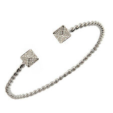 FLEXIBLE 14K WHITE ROSE YELLOW GOLD PAVE DIAMOND OPEN ROPE BANGLE CUFF BRACELET
