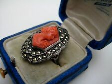 BIG INCREDIBLE VINTAGE ART DECO HIGH RELIEF CORAL CAMEO MARCASITE STERLING RING