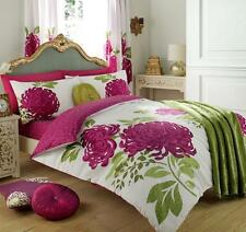 Modern Duvet Cover & Pillow Case Bedding Set KEW WHITE FUCHSIA  -Size Super King
