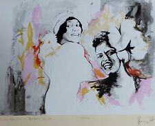 """RONNIE WOOD """"Billie Holiday & Bessie Smith"""" HAND SIGNED ROLLING STONES RON LITHO"""