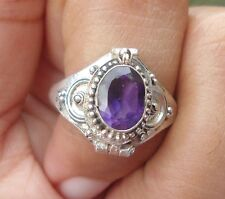 925 Solid Silver Balinese Poison Locket Ring Amethyst Cut Size 8-H67