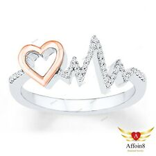 Heartbeat Ring 1/4 CT.T.W. Diamond 925 Sterling Silver 10K Rose Gold Finish