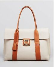 NW/OT Salvatore Ferragamo Frame Medium Sookie Tote Leather Satchel Bag White Tan
