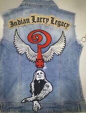 SET OF 3 VEST BIKER SEW ON PATCH INDIAN LARRY SILHOUETTE LEGACY