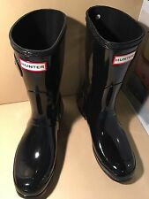 NEW Hunter Short Glassy Black Rubber Rain Boots US 9