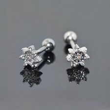 2pcs Stainless Steel CZ Flower Ear Stud Earring Cartilage Helix Tragus Studs