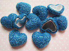 10 x 17MM GLITTER BLUE HEART FLAT BACK PHONE CASE HEADBANDS BOWS CARD MAKING