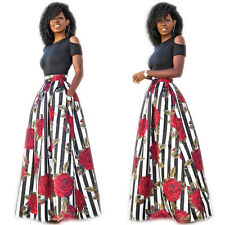Woman Tight Large Swing Skirt Two Piece Floral Cocktail Party Long Dress A XL