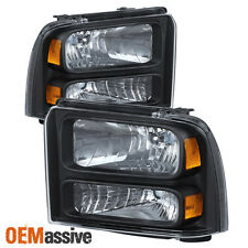 2005-2007 Ford F-250/350/450/550 Superduty Black Headlights 05 06 07 Left+RIght
