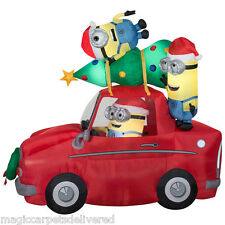 Christmas Minion Car Airblown Inflatable Dispicable Me Lighted 8' wide Gemmy New