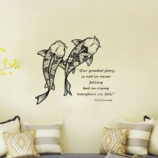 Wall Sticker Koi Fish Wall Decal Confucius Quote Wall Decal Quote Wall Decors
