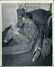 US Solider w Equipment Headed For Combat Writes Letter Home Press Photo
