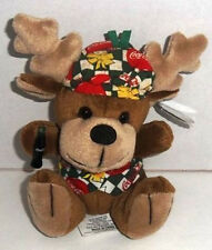 Reindeer with Coca Cola Vest & Beanie Bean Bag Plush Toy w/ Tags 1998