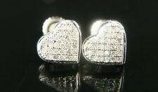 Ladies Heart Gold Finish 8 Mm Pave Diamond Stud Earring