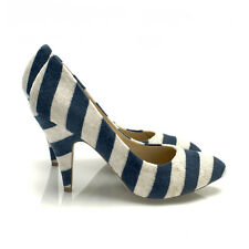NIB $285 INDIE.MARKET Blue White Striped Terry Pointy Toe High Heels Pumps Shoes