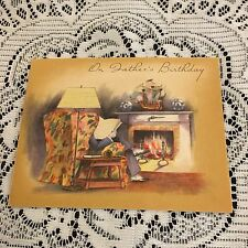 Vintage Greeting Card Christmas Man In Chair Home Victorian