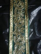 Fancy Green And Gold Sequin Indian 6.5 cm Lace Trim New Organza Ribbon 65mm