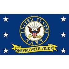 US Navy Served with Pride Super Poly Full Sized Flag 3'x5' USN