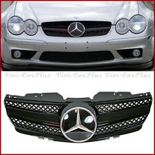 All Gloss Black Fin Cover SL Style Front Grille For 03-06 R230 SL500 SL600 Hood