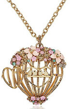 Betsey Johnson B11723-N01 Multi Flower Cage Pink/Gold Large Pendant