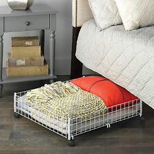 Under Bed Storage Rolling Cart White Shoe Container Steel Clothes Organizer