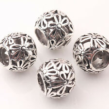 10Pcs Retro Tibetan Silver Spacer Beads Fit Charm European Bracelet 10mm A0479-E