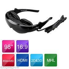 "98"" HDMI 3D VR Video Glasses Eyewear Virtual Reality Widescreen Personal Theater"