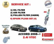 FOR HONDA ACCORD 2.4i VTEC 2008--  OIL AIR POLLEN 3 FILTER KIT + SPARK PLUGS SET
