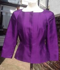 L K Bennett Purple Peplum Jacket Silk/wool Mix Size 6 EXCELLENT CONDITION