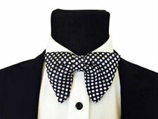 Mens FERUCCI Oversized Bow Tie - Black Silk Bowtie White Polka Dot, big bow tie