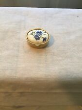 Oval Pill Box With White Domed Lid With Blue Cornflowers Painted On Top