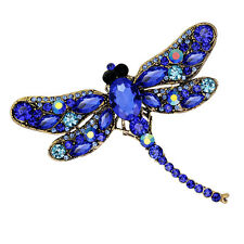 Lady Dragonfly Crystal Brooch Rhinestone Scarf Pins Party Jewelry Vintage