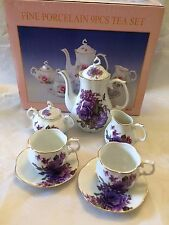 PETITE Purple ROSES PORCELAIN TEA SET TEAPOT SUGAR BOWL CREAMER 2 TEACUPS