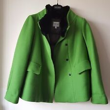 ARMANI COLLEZIONE WOMEN A-LINE APPLE GREEN WOOL FUR COLLAR JACKET SIZE 12