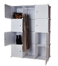 Kleiderschrank DIY Schrank Steckregal Regalsystem Garderobe Weiß 600 L