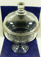 Vintage Clear Glass Footed Round with Lid piedestal Candy Bowl Dish Vase 10""