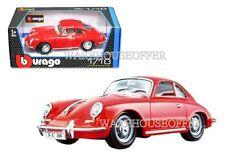 BBURAGO 1:18 1961 PORSCHE 356B COUPE DIECAST MODEL CAR RED 18-12026RD