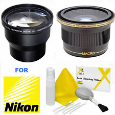 52MM 3.6x TELEPHOTO ZOOM LENS + X38 WIDE ANGLE MACRO LENS FOR NIKON D3100 D3200