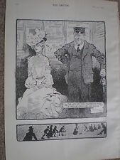 In the Lift of the Twopenny tube by Rene Bull 1902 old print ref W2
