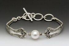 SILVER SPOON MERLOT TOGGLE BRACELET WITH SWAROVSKI PEARL