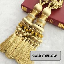 "NEW 11"" Luxury Curtain Drapery Tassel Tieback Holdback Large YELLOW / GOLD - ONE"
