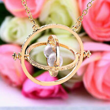 Trendy Retro Rotating Time-Turner Gold Hourglass Pendant Chain Necklace DT